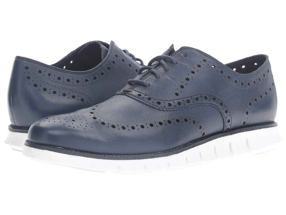 Cole Haan - Zerogrand Wing Ox (Black Iris Glove Open Holes Leather/White Leather) Men's Lace Up Wing Tip Shoes