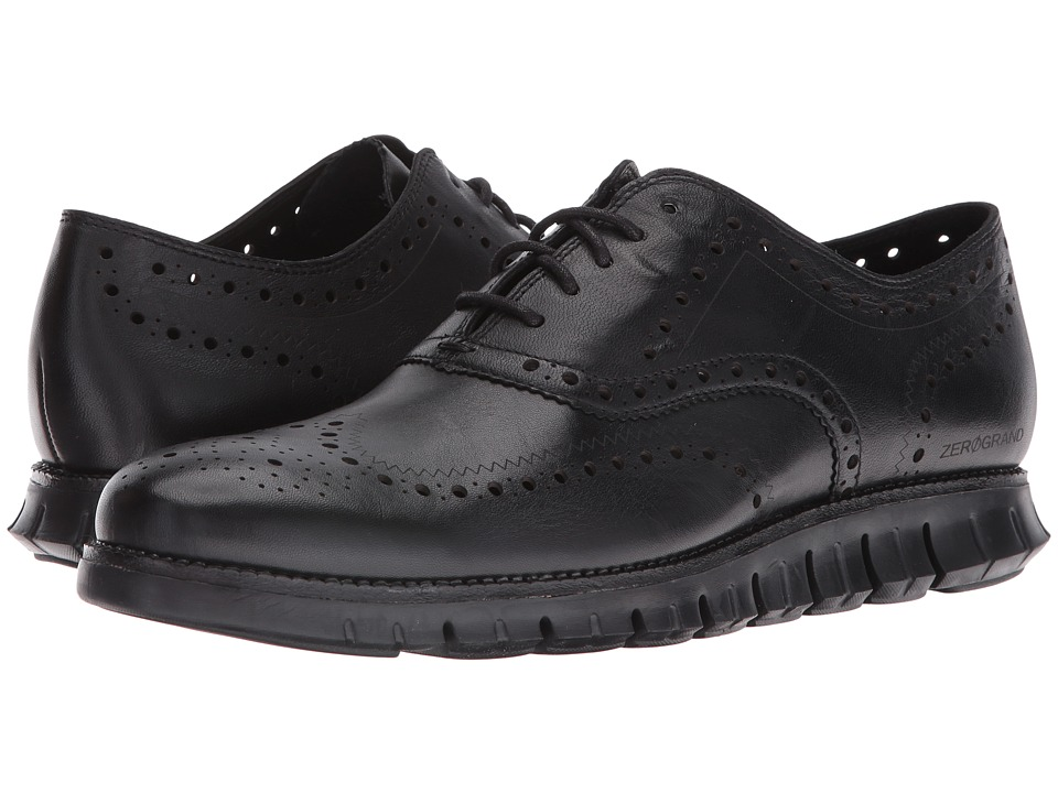 Cole Haan - Zerogrand Wing Ox (Black Glove Open Holes Leather/Black Leather) Men's Lace Up Wing Tip Shoes