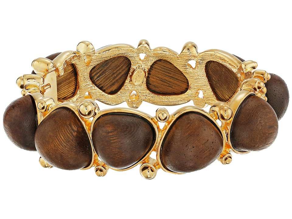 Kenneth Jay Lane - Gold with Dark Wood Cabochons Bangle (Brown) Bracelet