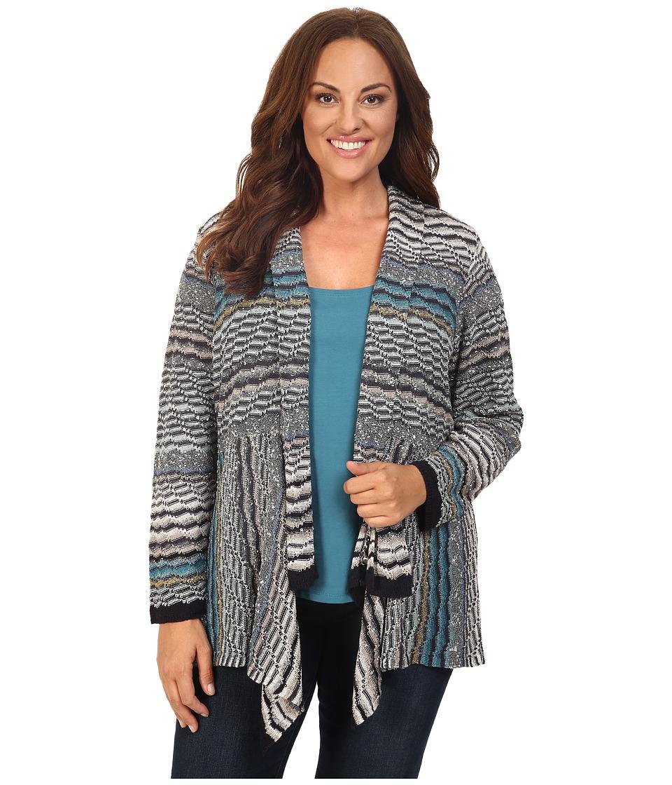 NIC+ZOE - Plus Size Shaded Stripes Cardy (Multi) Women's Sweater