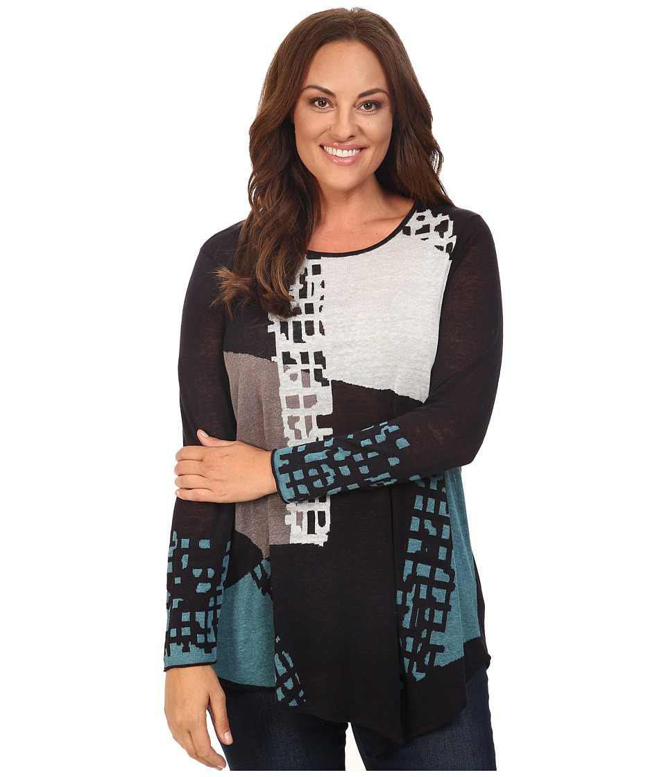 NIC+ZOE - Plus Size Shadowblock Top (Multi) Women's Clothing