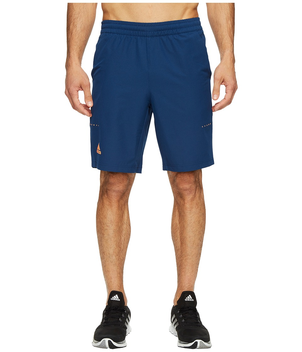 adidas - Barricade Bermuda Shorts (Mystery Blue/Glow Orange) Men's Shorts