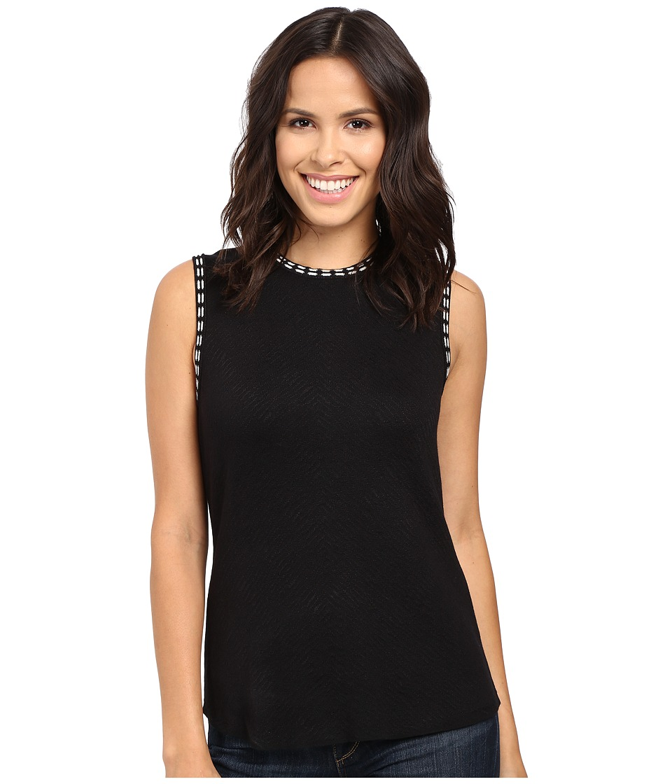 NIC+ZOE - Double Stitch Top (Black Onyx) Women's Clothing