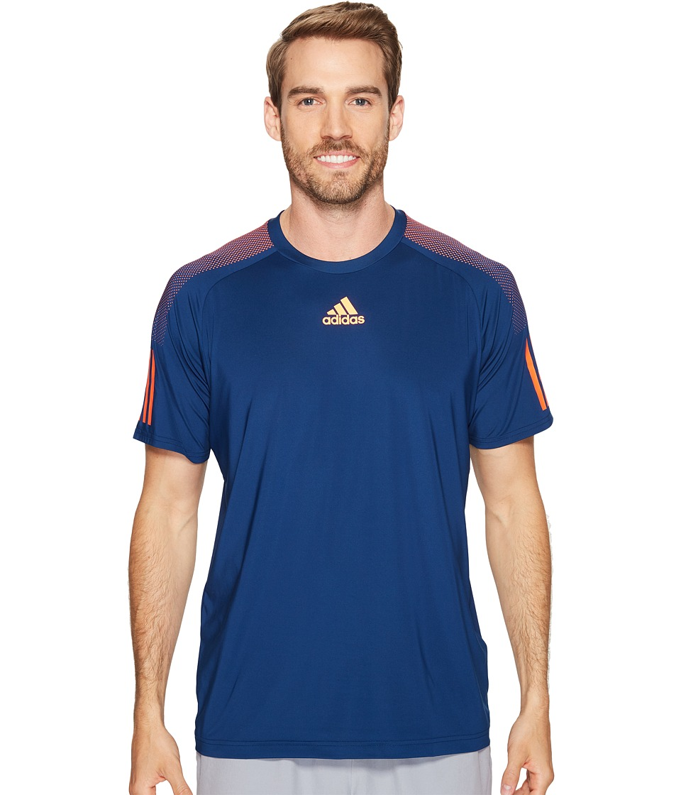 adidas - Barricade Tee (Mystery Blue/Glow Orange) Men's T Shirt