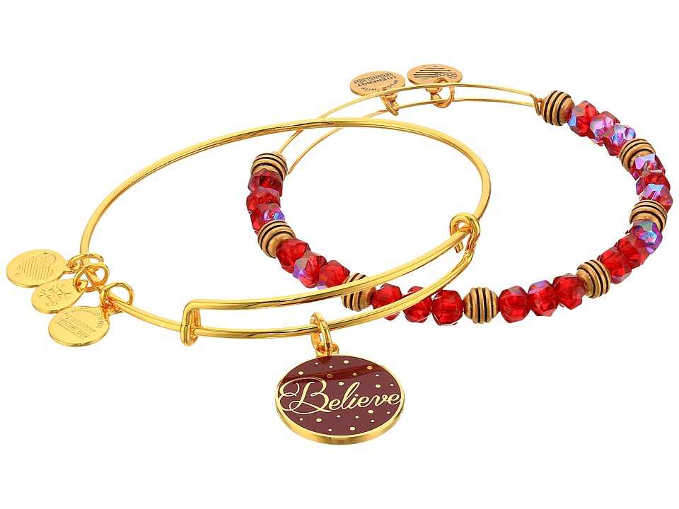 Alex and Ani - Believe Set of 2 Color Infusion Wine (Shiny Gold) Bracelet