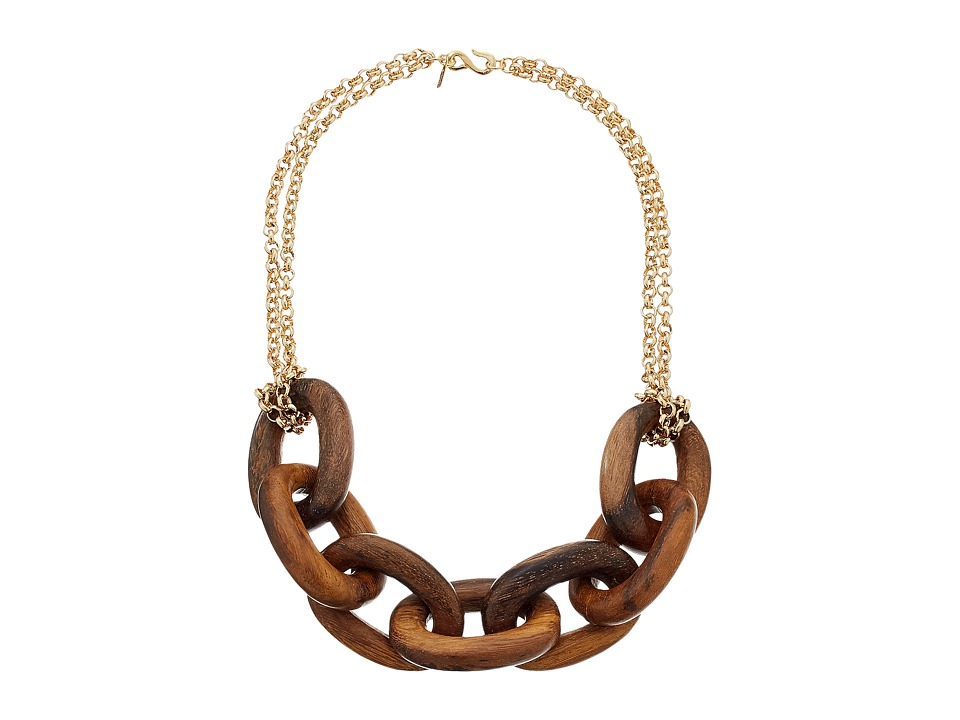 Kenneth Jay Lane - Wood Links Necklace with Polished Gold Chain (Brown) Necklace
