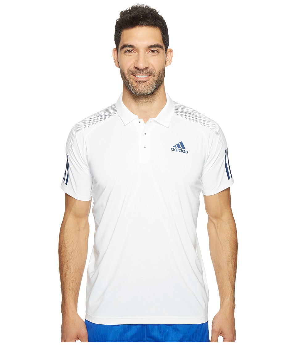 adidas - Barricade Polo Shirt (Whiite/Mystery Blue) Men's Short Sleeve Knit