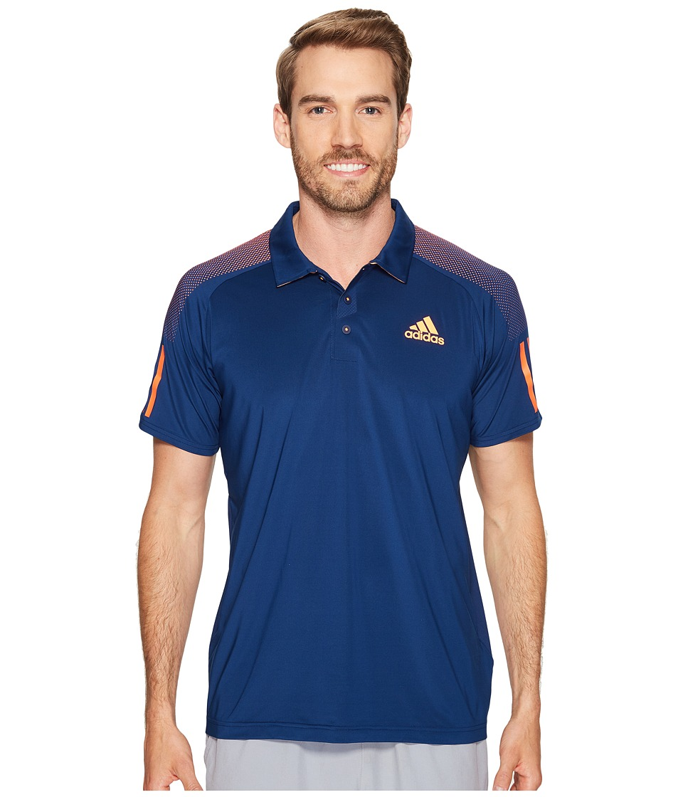 adidas - Barricade Polo Shirt (Mystery Blue/Glow Orange) Men's Short Sleeve Knit