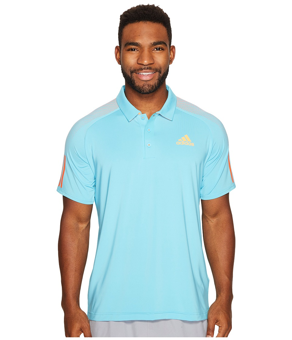 adidas - Barricade Polo Shirt (Samba Blue/Glow Orange) Men's Short Sleeve Knit