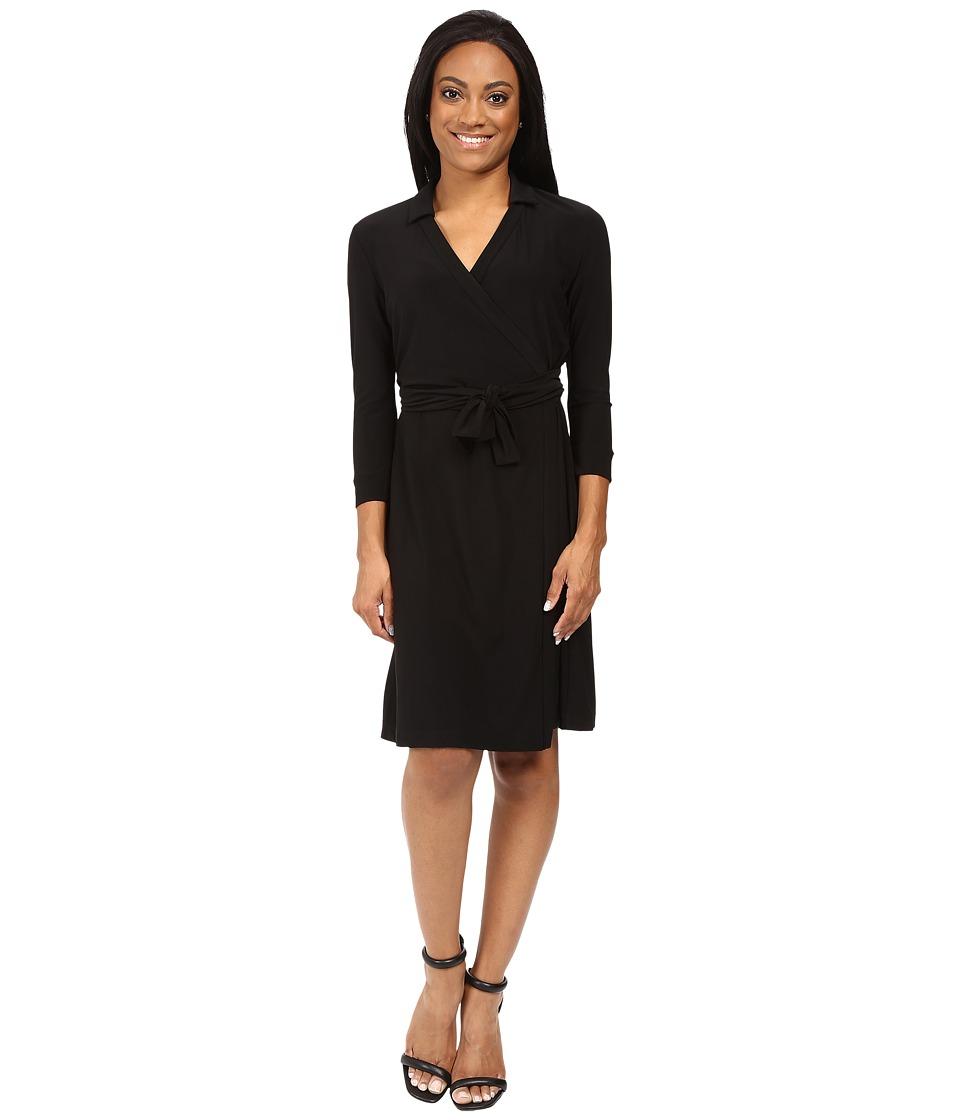 NIC+ZOE - Petite Luxe Jersey Wrap Dress (Black Onyx) Women's Dress