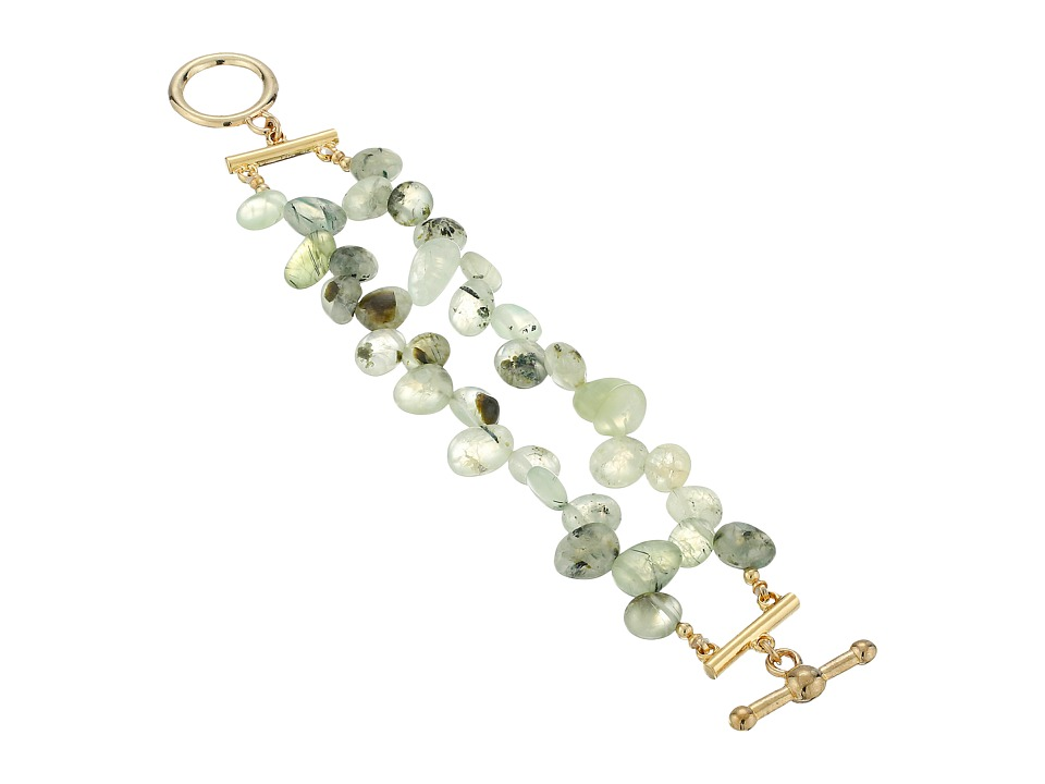 Kenneth Jay Lane - 2 Row Jade Bead Bracelet with Gold Toggle Clasp (Jade) Bracelet