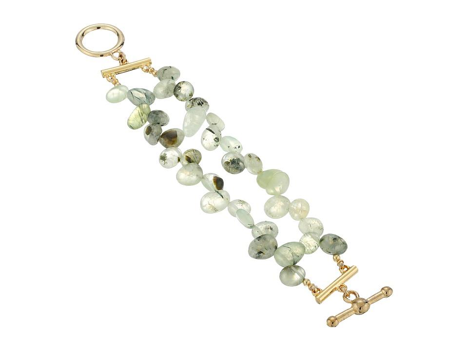 Kenneth Jay Lane - 2 Row Jade Bead Bracelet with Gold Toggle Clasp (Jade) Bracelet