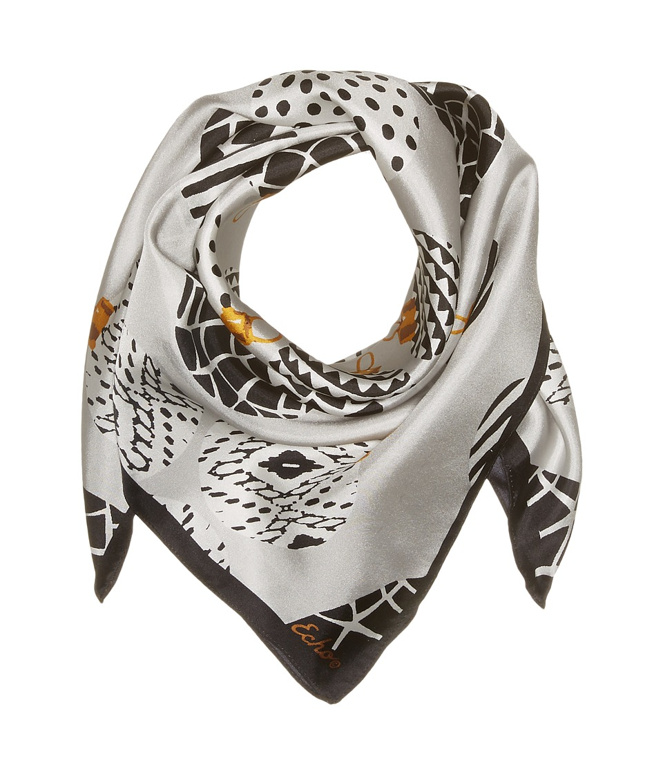 Echo Design - Merry Go Round Silk Square (Silver) Scarves
