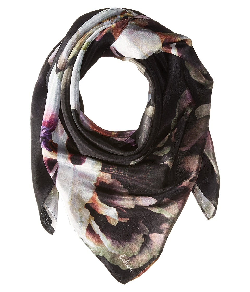 Echo Design - Icy Flora Silk Square (Black) Scarves