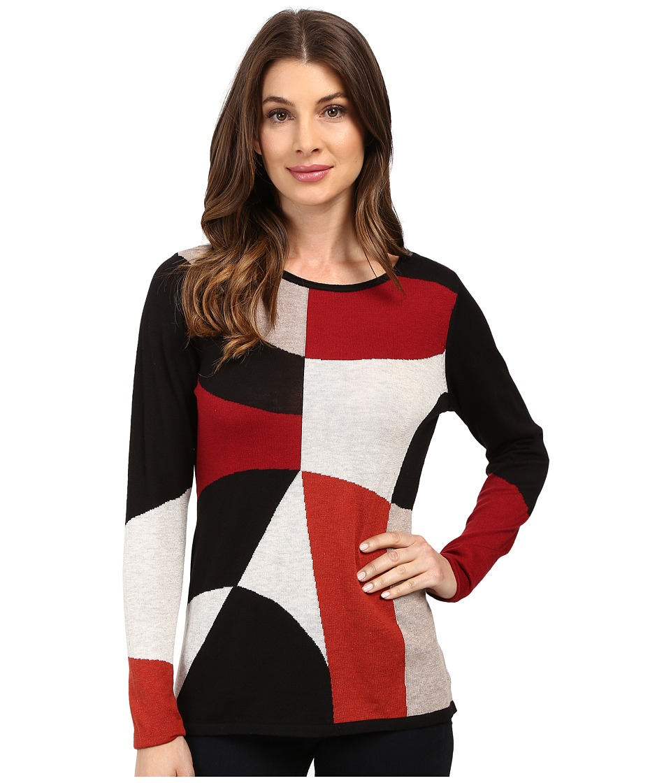 NIC+ZOE - Rubied Intarsia Top (Multi) Women's Clothing