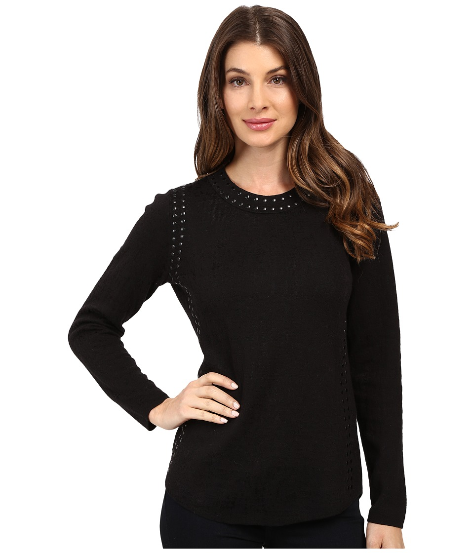 NIC+ZOE - Grommet Top (Black Onyx) Women's Clothing