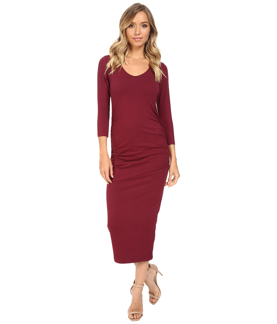 Michael Stars - 3/4 Sleeve Ruched Midi Dress (Pinot) Women's Dress