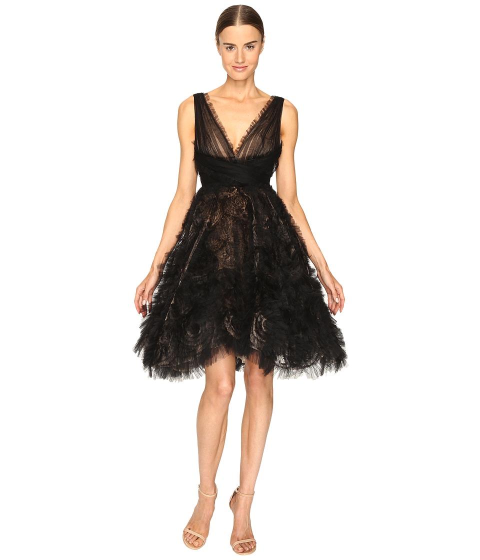 Marchesa - V-Neck Cocktail in Tulle w/ Voluminous Ruffle Skirt (Black) Women's Dress