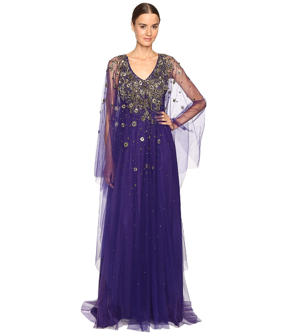 Marchesa - V-Neck Caftan w/ Crystal and Beaded Jewel Neckline (Violet) Women's Dress