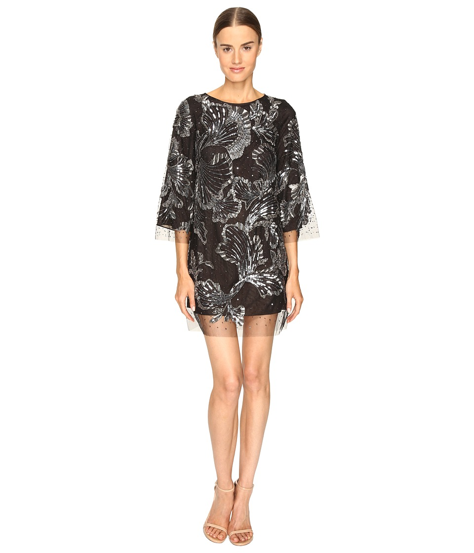 Marchesa - Tunic in Tulle w/ Crystal and Beaded Embroidery (Charcoal) Women's Dress