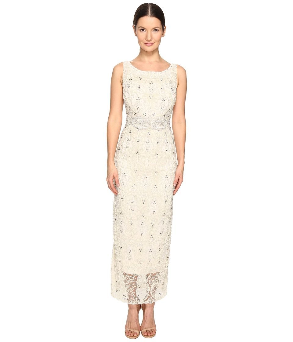 Marchesa Crystal and Pearl Column Gown w/ Belt (Ivory) Women