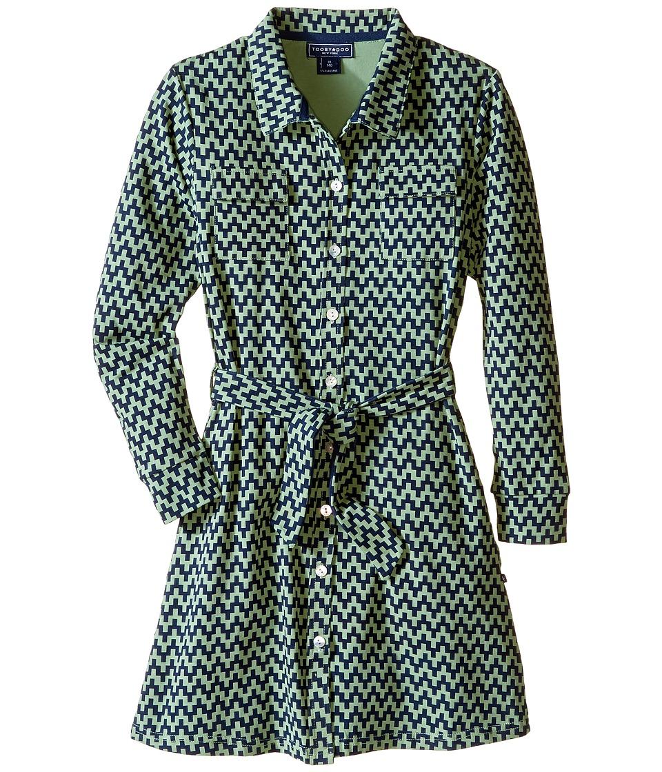 Toobydoo - Zaya Long Sleeve Cotton Shirtdress (Toddler/Little Kids/Big Kids) (Green/Navy) Girl's Dress