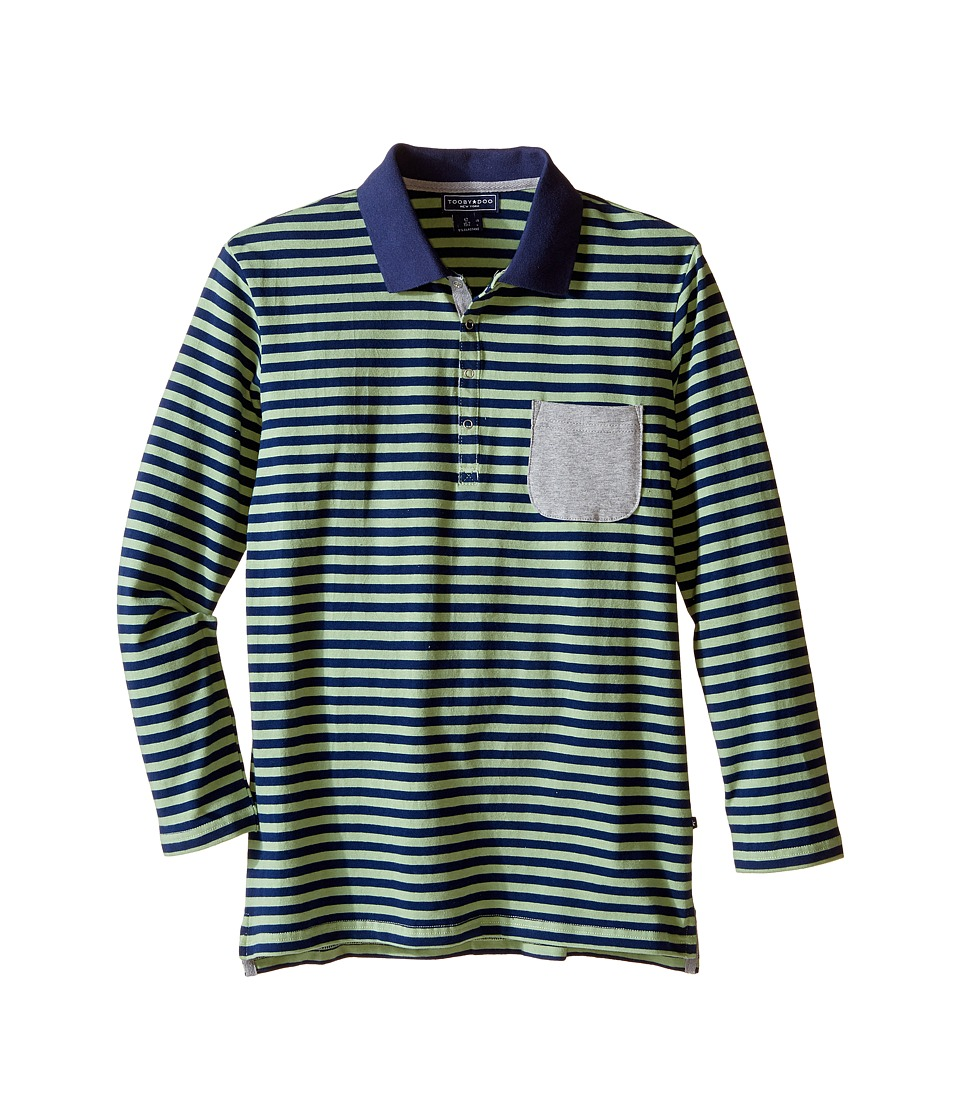 Toobydoo - Maddox Long Sleeve Striped Polo (Toddler/Little Kids/Big Kids) (Navy/Green/Grey) Boy's Clothing