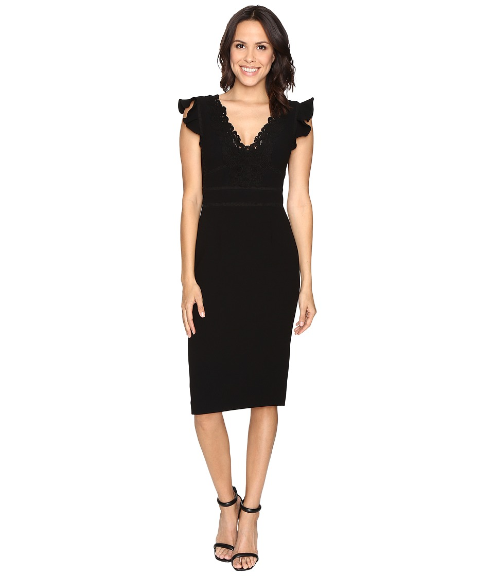 Rebecca Taylor - Sleeveless Crepe Lace Dress (Black) Women's Dress
