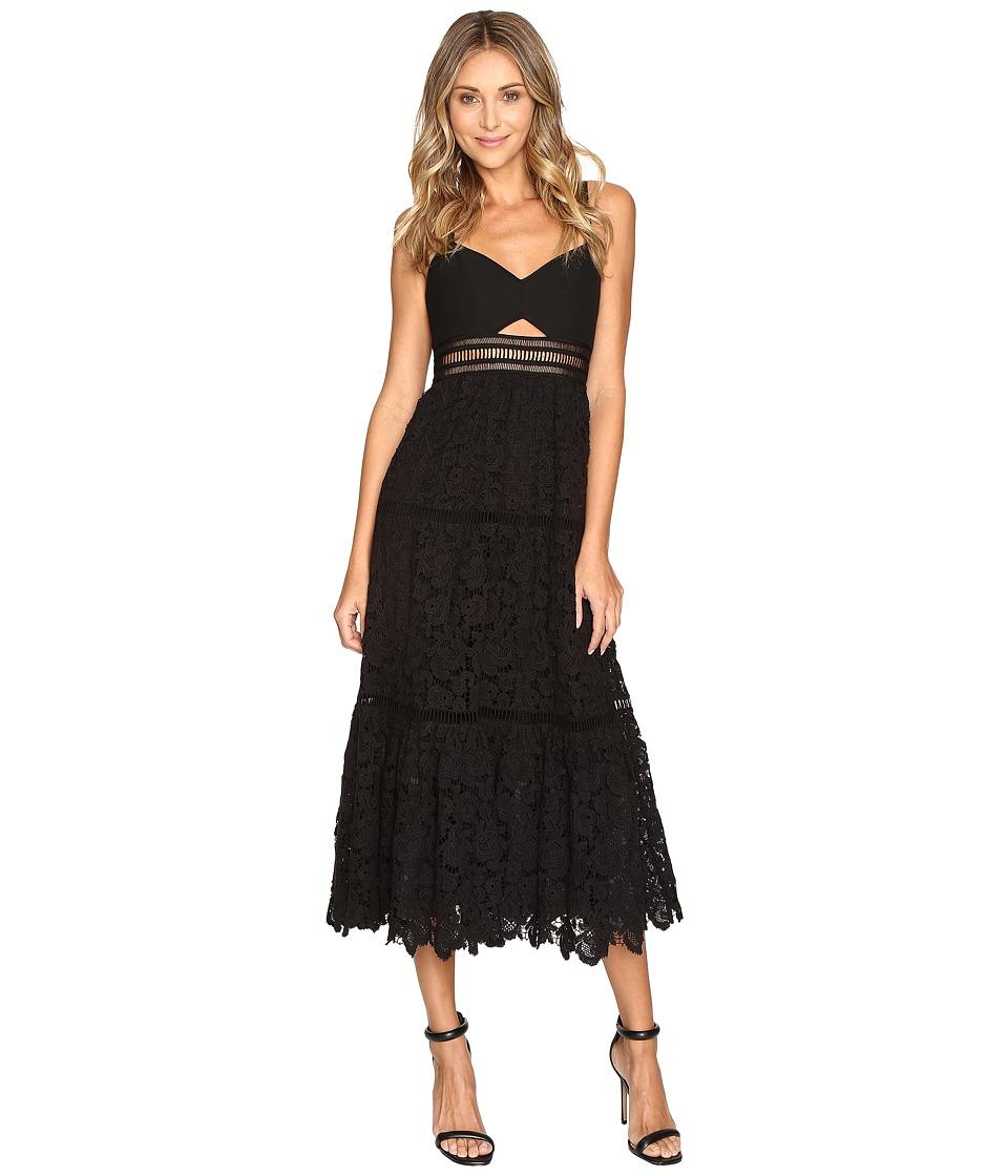 Rebecca Taylor Stretch Pique Lace Dress (Black) Women