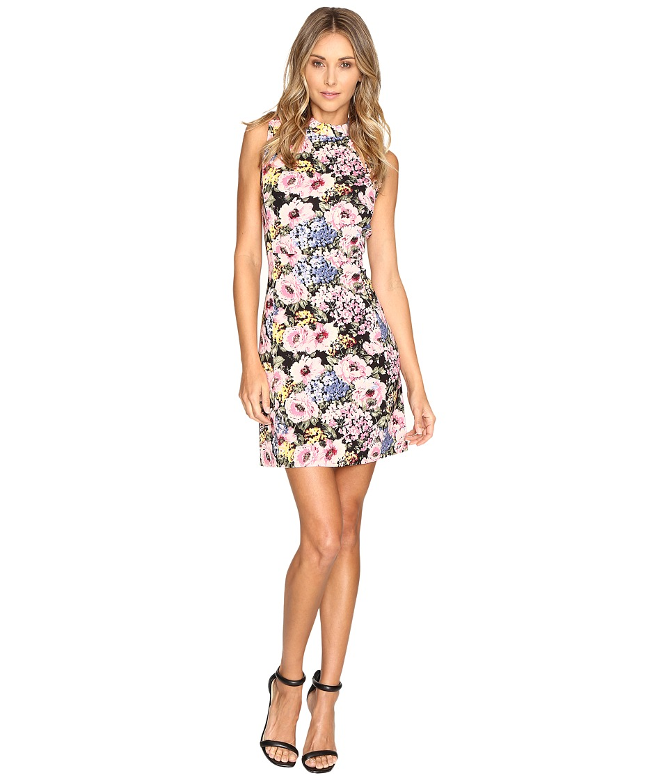 Rebecca Taylor Lavinia Rose Print Dress (Black/Camellia) Women