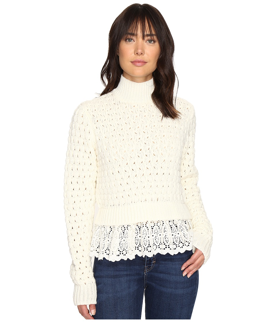 Rebecca Taylor - Pop Stitch Sweater with Lace (Chalk) Women's Sweater