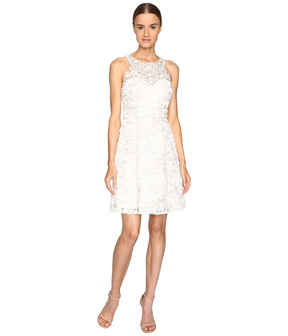 Marchesa Notte Textured and Beaded Cocktail Dress (Ivory) Women
