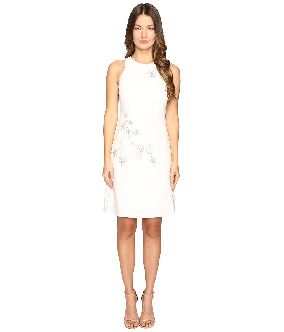 Marchesa Notte A-Line Crepe Floral Embroidery Shift Dress (Ivory) Women