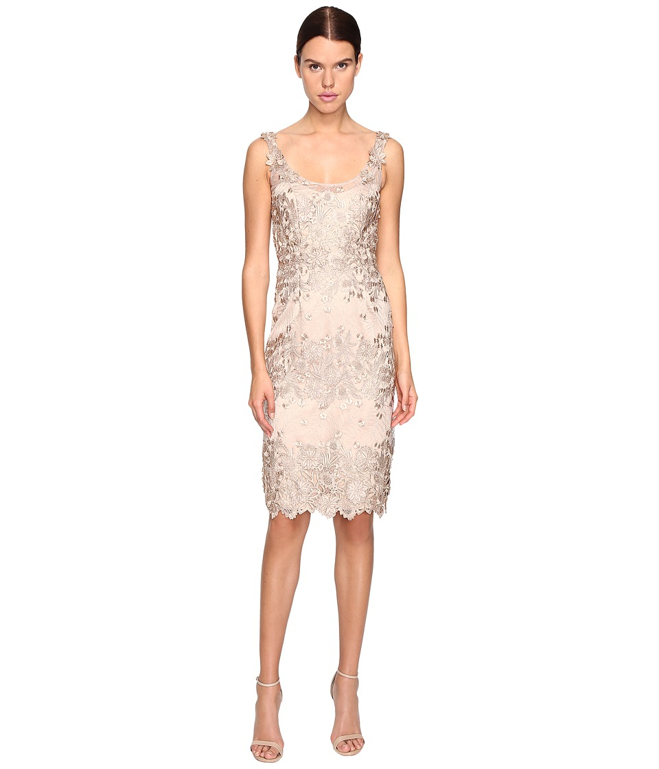Marchesa Notte Palm Embroidered Sheath Cocktail Dress (Nude) Women
