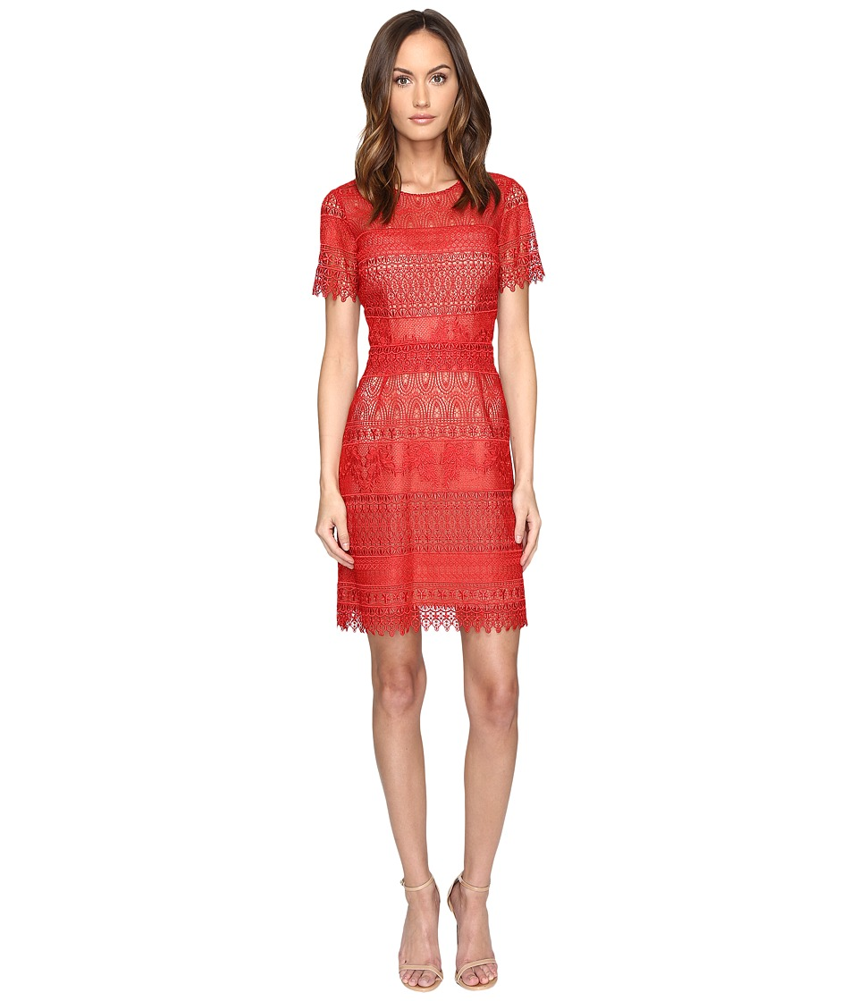 Marchesa Notte Giupre Lace Dress (Red) Women