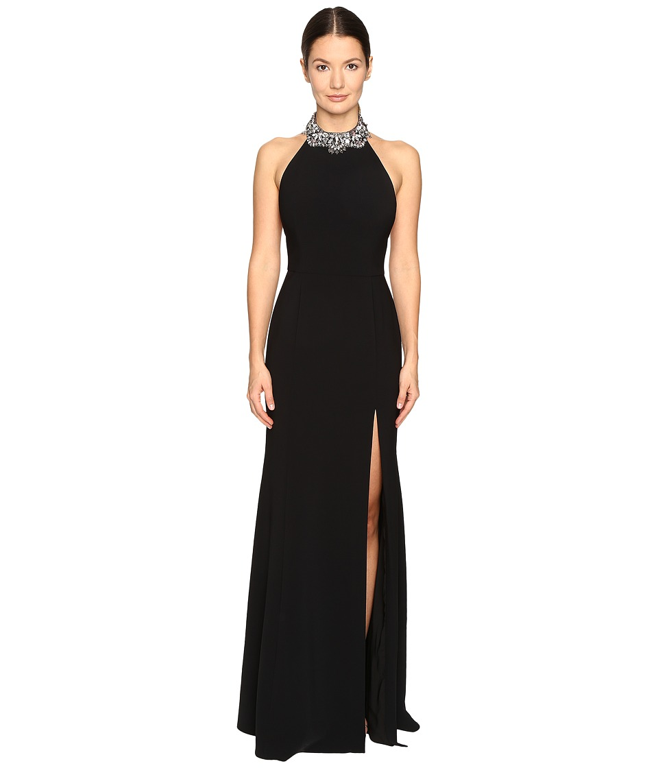 Marchesa Notte - Crepe Halter Gown with Slit and Beaded Choker (Black) Women's Dress