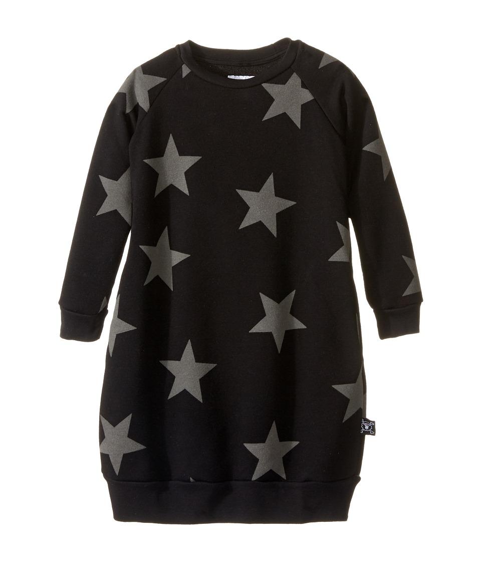 Nununu - Star Print A-Line Sweatshirt Dress (Infant/Toddler/Little Kids) (Black) Girl's Dress