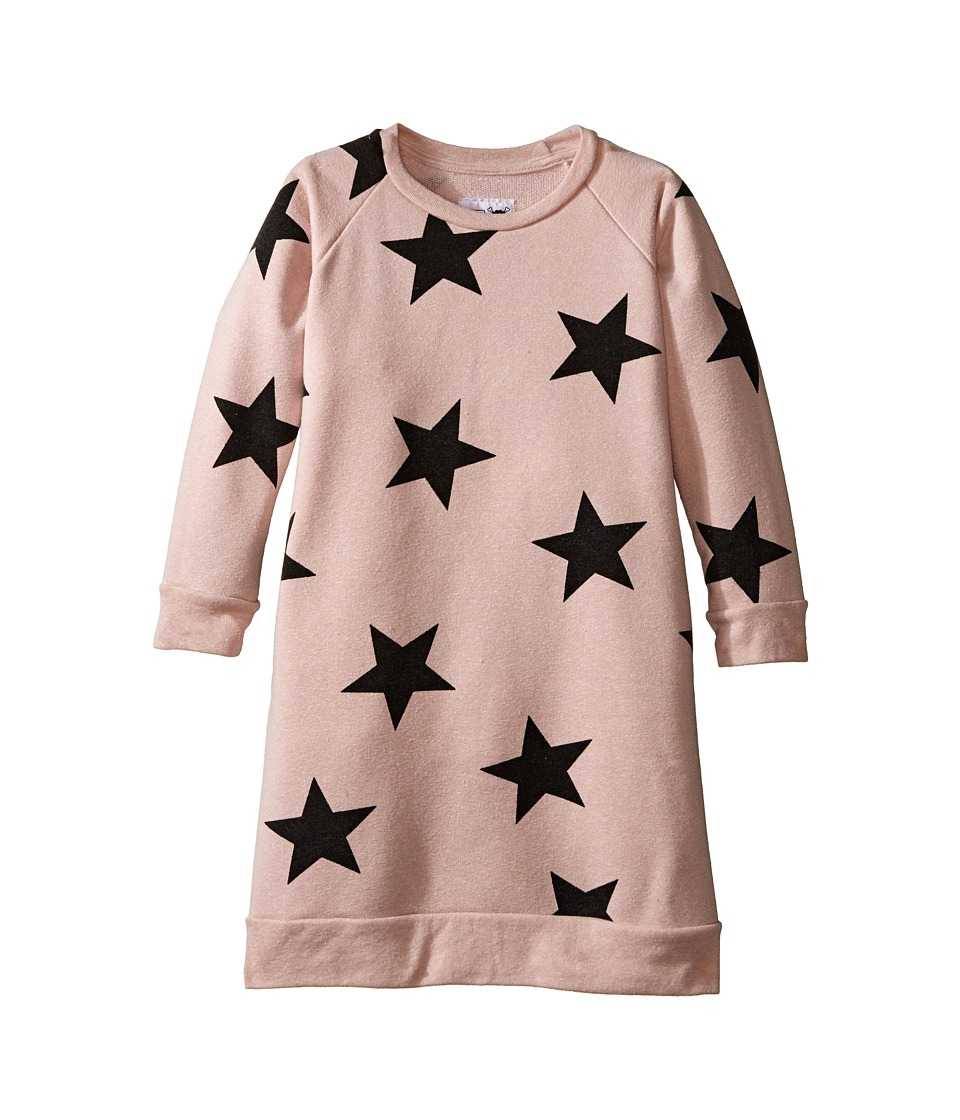 Nununu - Star Print A-Line Sweatshirt Dress (Infant/Toddler/Little Kids) (Powder Pink) Girl's Dress