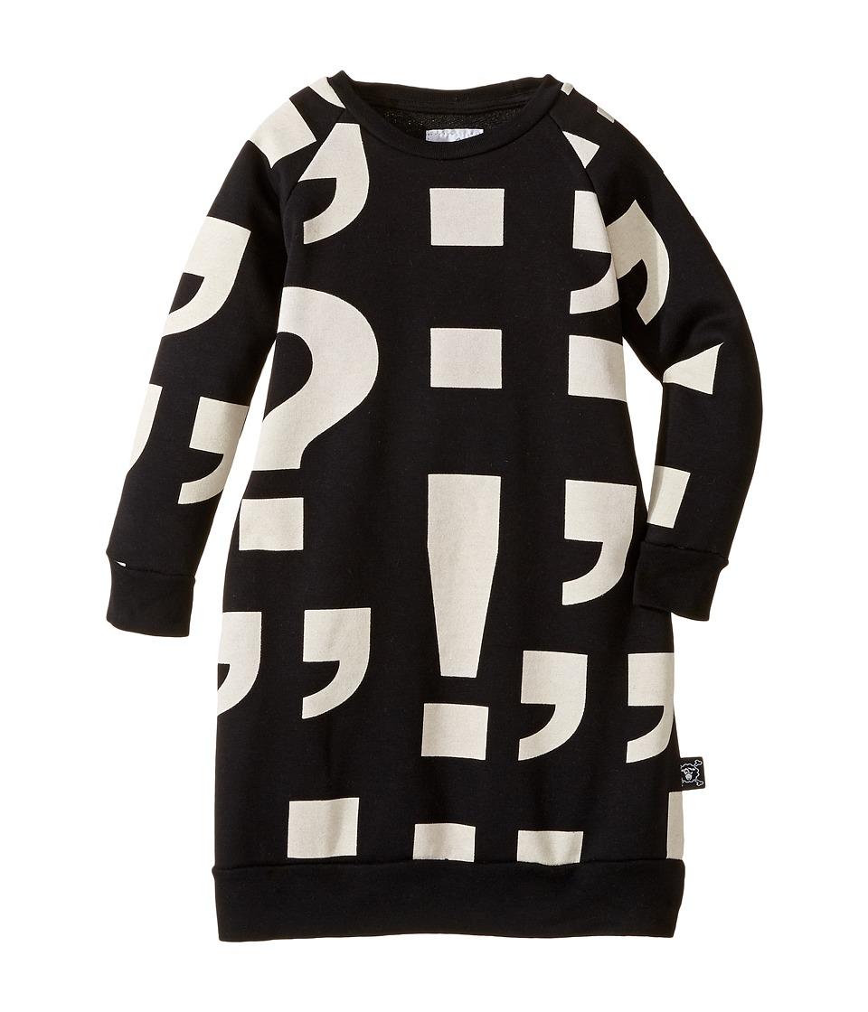 Nununu - Punctuation Print Extra Soft A-Line Sweatshirt Dress (Infant/Toddler/Little Kids) (Black) Girl's Dress