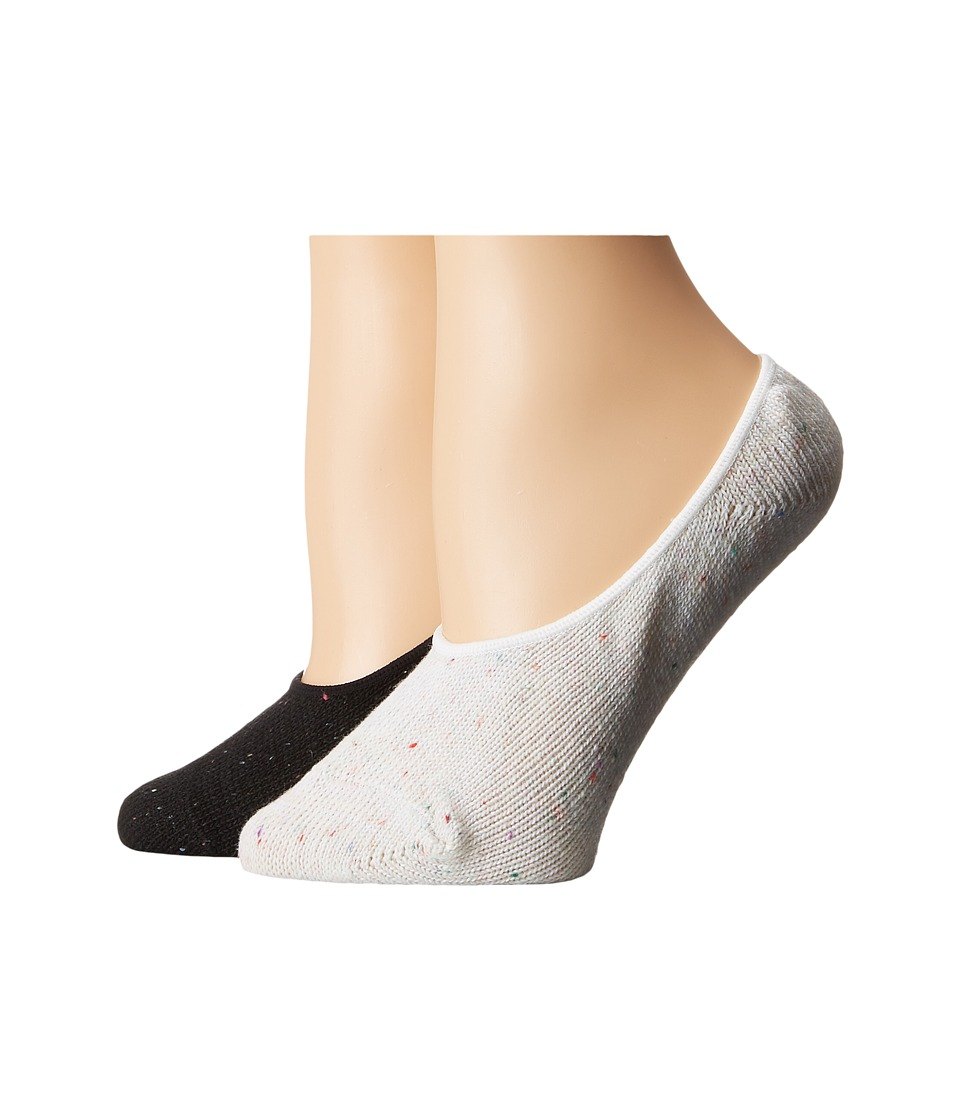 Steve Madden - 2-Pack Marl Boot Footie (White/Black) Women's Crew Cut Socks Shoes
