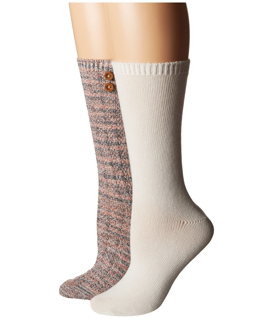 Steve Madden - 2-Pack Button Crew Sock (Taupe/Off-White) Women's Crew Cut Socks Shoes
