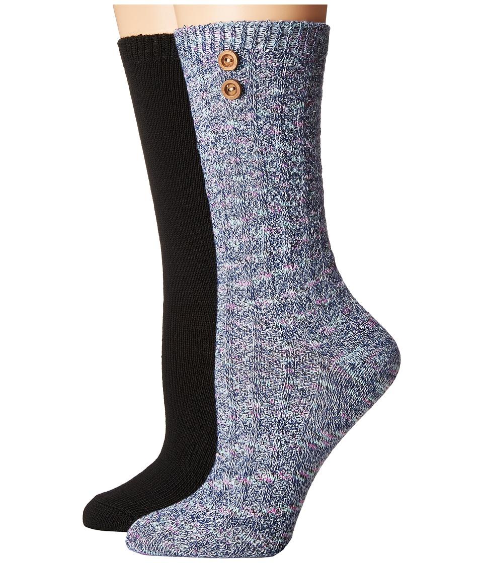 Steve Madden - 2-Pack Button Crew Sock (Marl/Black) Women's Crew Cut Socks Shoes