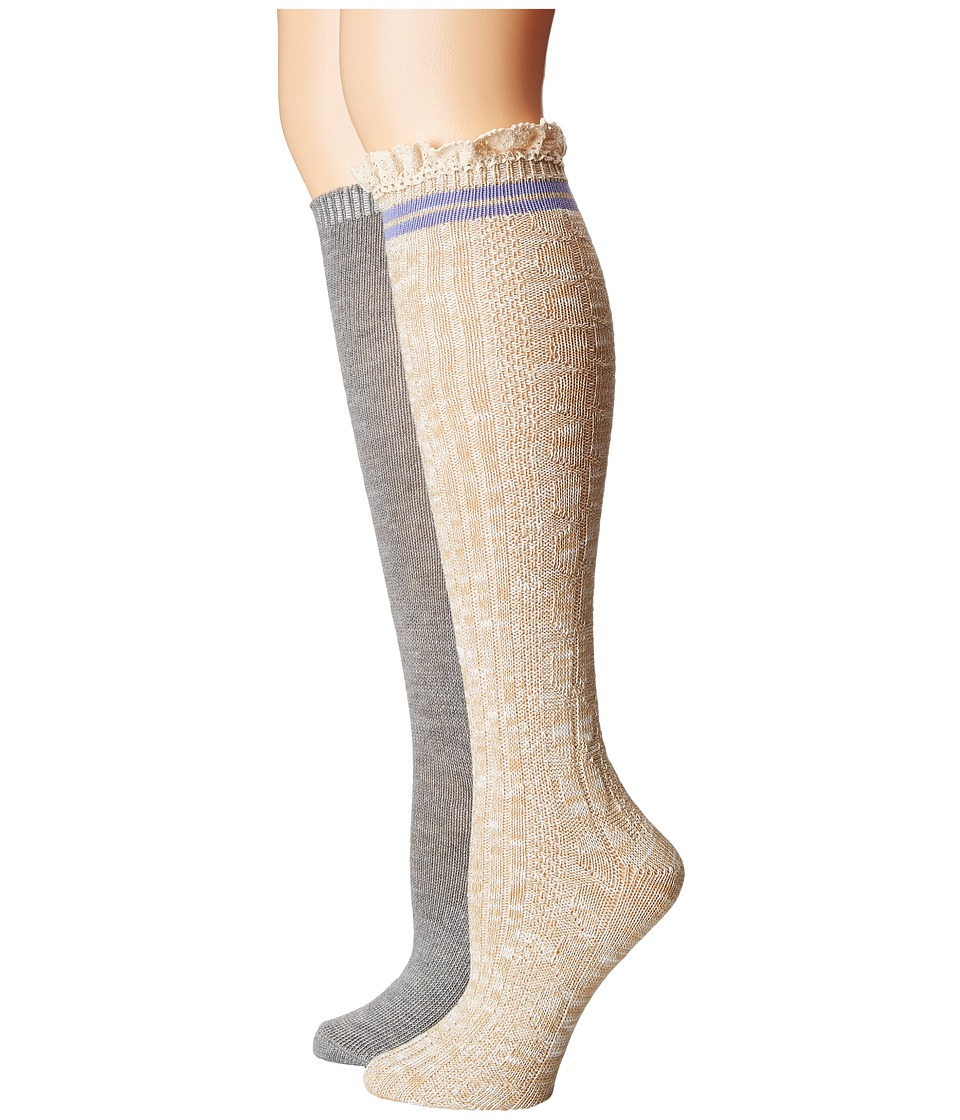 Steve Madden - 2-Pack Varsity Lace Knee High (Off-White/Heather Grey) Women's Knee High Socks Shoes