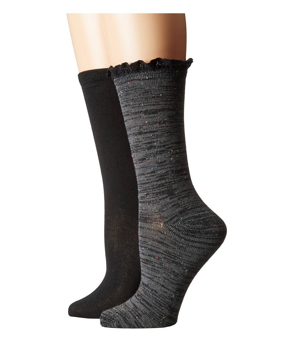 Steve Madden - 2-Pack Heather Lace Cuff (Dark Grey/Black) Women's Crew Cut Socks Shoes
