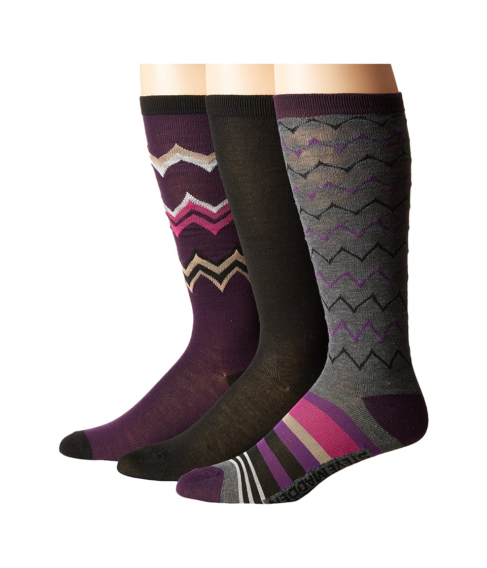 Steve Madden - 3-Pack Knee High Geo Chevron (Black) Women's Knee High Socks Shoes