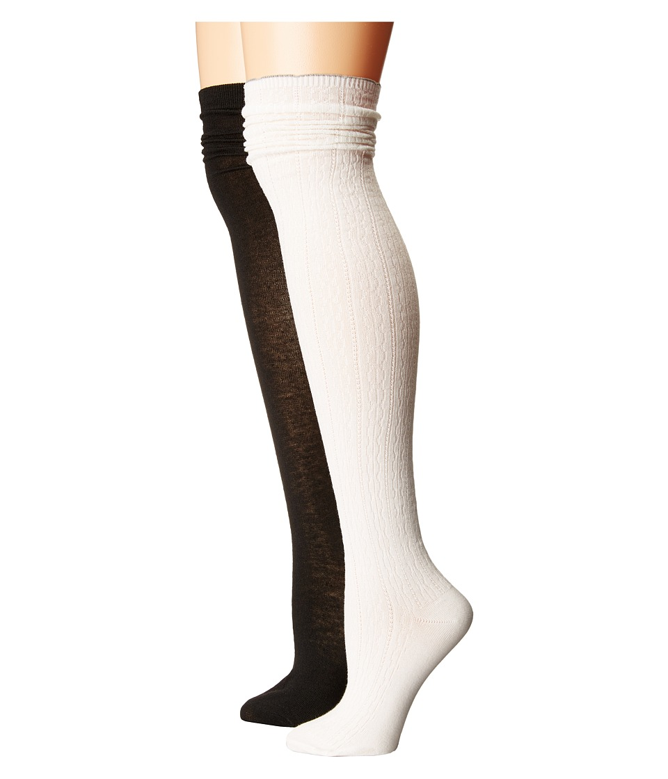 Steve Madden - 2-Pack Over the Knee Scallop Cuff (Off-White/Black) Women's Thigh High Socks Shoes