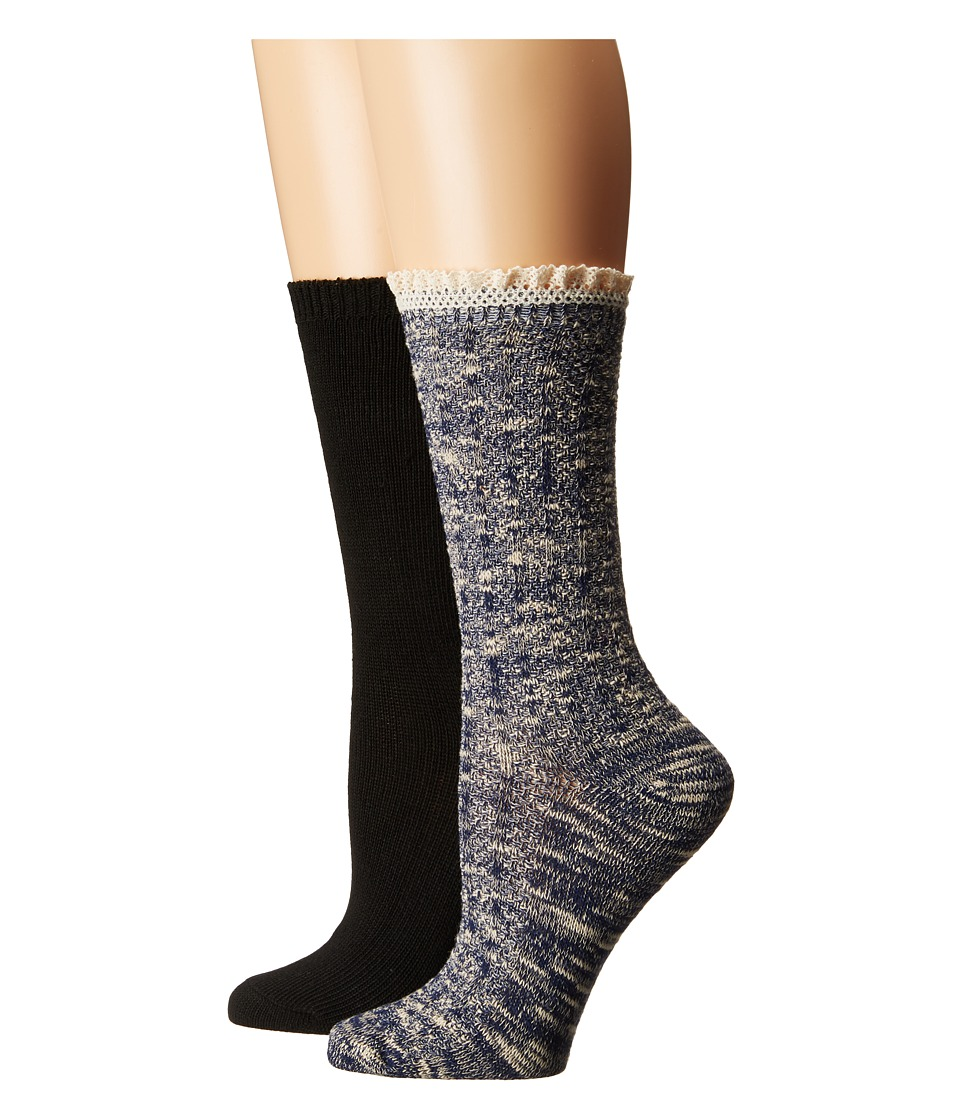 Steve Madden - 2-Pack Marl Lace Cuff (Navy/Black) Women's Crew Cut Socks Shoes