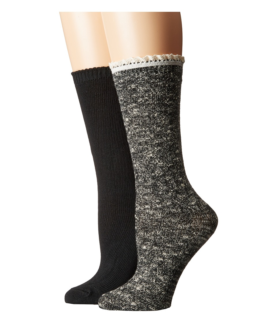 Steve Madden - 2-Pack Marl Lace Cuff (Black/Black) Women's Crew Cut Socks Shoes
