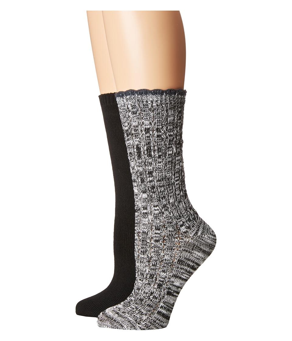 Steve Madden - 2-Pack Marl Scallop Cuff (Black/White) Women's Crew Cut Socks Shoes