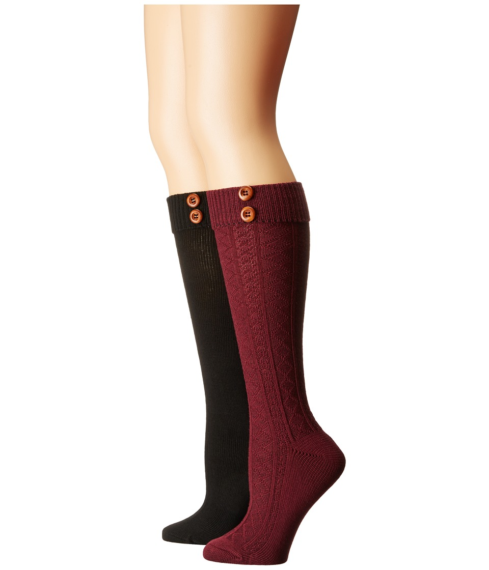 Steve Madden - 2-Pack Button Cable Knee High (Burgundy/Black) Women's Knee High Socks Shoes